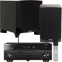 "Yamaha 7.2-Channel Receiver, Energy 6½"" Bookshelf Speaker Pair & 8"" Subwoofer Package"