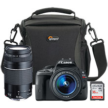 Canon EOS Rebel SL1 DSLR Camera with 18-55mm Lens, Extra 75-300mm Lens, 16GB Memory Card & Bag