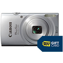 Canon PowerShot ELPH-135 16.0MP Camera - Silver with $10 Best Buy Gift Card