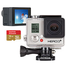 GoPro Hero3+ Silver Edition Camera, GoPro LCD Touch BacPac & 16GB Memory Card