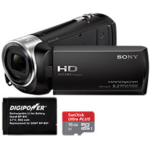Sony HDR-CX240 HD Flash Memory Camcorder, Battery & 16GB Memory Card