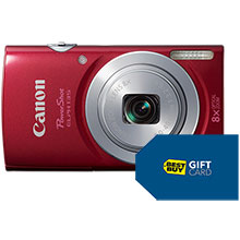 Canon PowerShot ELPH-135 16.0MP Camera - Red & Free $10 Gift Card