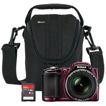 Nikon Coolpix L830 16.0MP Camera - Plum, Free 8GB Memory Card & Free Bag