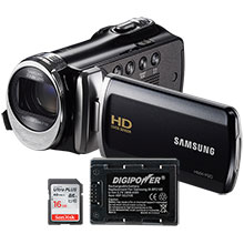 Samsung F90BN HD Flash Memory Camcorder, Battery & 16GB Memory Card