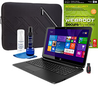 HP 15-f100dx Touch-Screen Laptop, Internet Security Software, Screen Cleaner, Sleeve & Flash Drive Package