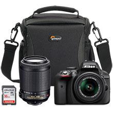 Nikon D3300 24.2MP DSLR Camera with 18-55mm VR Lens, Extra 55-200mm Lens, Free 16GB Memory Card & Free Bag