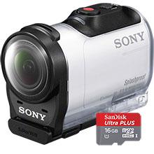Sony AZ1V HD Mini Action Cam - White & 16GB Memory Card
