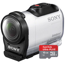 Sony AZ1VR HD Mini Action Cam with Remote - White & 16GB Memory Card