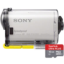 Sony AS100 HD Action Cam - White & 16GB Memory Card