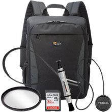 Accessory Package for DSLR Cameras with LensPen Cleaner, Lens Cap Holder, 58mm UV Filter, Backpack & 32GB Memory Card
