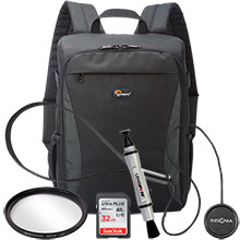 Accessory Package for DSLR Cameras with LensPen Cleaner, Lens Cap Holder, 52mm UV Filter, Backpack & 32GB Memory Card