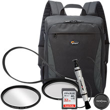 Accessory Package for DSLR Cameras with LensPen Cleaner, Lens Cap Holder, 67mm UV Filter, Backpack & 32GB Memory Card