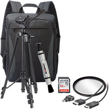 Accessory Package for DSLR Cameras with LensPen Cleaner, HDMI Cable, 58mm UV Filter, Tripod, Backpack, 32GB Memory Card
