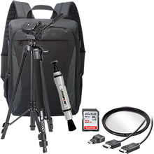 Accessory Package for DSLR Cameras with LensPen Cleaner, HDMI Cable, 52mm UV Filter, Tripod, Backpack, 32GB Memory Card