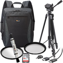 Accessory Package for DSLR Cameras with LensPen Cleaner, HDMI Cable, 67mm UV Filter, Tripod, Backpack & 32GB Memory Card