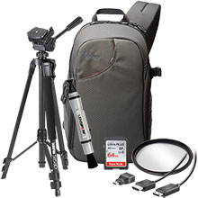 Accessory Package for DSLR Cameras with LensPen Cleaner, HDMI Cable, 58mm UV Filter, Tripod, Sling Bag, 64GB Memory Card