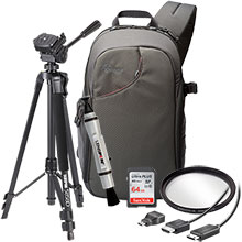 Accesories Packge for DSLR Cameras with LensPen Cleaner, HDMI Cable, 52mm UV Filter, Tripod, Sling Bag, 64GB Memory Card
