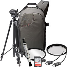 Accessory Package for DSLR Cameras with LensPen Cleaner, HDMI Cable, 67mm UV Filter, Tripod, Sling Bag, 64GB Memory Card