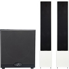 """MartinLogan Pair of Motion 40 6½"""" Gloss White Floor Speakers & Free Dynamo 500 10"""" Powered Subwoofer"""