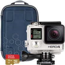 GoPro HERO4 Silver Action Camera, Accessory Case & 16GB Memory Card