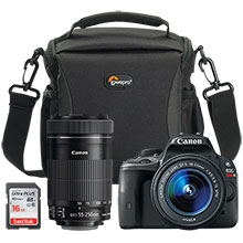 Canon EOS Rebel SL1 18.0MP DSLR Camera with 18-55mm Lens, Extra 55-250mm Lens, Bag & 16GB MemoryCard