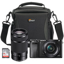Sony Alpha a6000 24.3MP Compact System Camera with 16-50mm Retractable Lens, Extra 55-210mm Lens, Bag & 16GB Memory Card