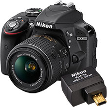 Nikon D3300 24.2MP DSLR Camera with 18-55mm Lens & Free WU-1A Wireless Mobile Adapter