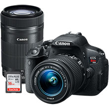 Canon EOS Rebel T5i 18.0MP DSLR Camera with 18-55mm Lens, Extra 55-250mm Lens & Free 16GB Memory Card