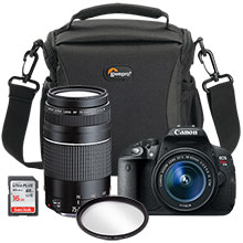 Canon EOS Rebel T5i 18.0MP DSLR Camera with 18-55mm Lens,75-300mm Lens, Bag, Free 16GB Memory Card & Free 58mm UV Filter