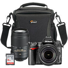 Nikon D7000 16.2MP DSLR Camera with 18-140mm Lens, 55-300mm Telephoto Lens, Free 16GB Memory Card & Free Camera Bag