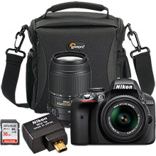 Nikon D3300 DSLR Camera with 18-55mm Lens, 55-300mm Telephoto Lens, Free Wireless Mobile Adapter, Bag & 16GB Memory Card