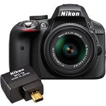 Nikon D3300 DSLR Camera with 18-55mm Lens and Free Wireless Mobile Adapter