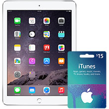 iPad Air 2 Wi-Fi 16GB (Silver) & $15 iTunes Gift Card Package