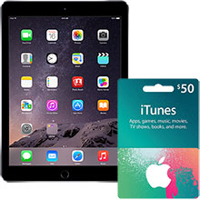 iPad Air 2 Wi-Fi 64GB (Space Gray) & $50 iTunes Gift Card Package