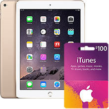 iPad Air 2 Wi-Fi 128GB (Gold) & $100 iTunes Gift Card Package