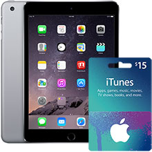 iPad mini 3 Wi-Fi 16GB (Space Gray) & $15 iTunes Gift Card Package