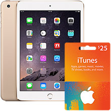 iPad mini 3 Wi-Fi 64GB (Gold) & $25 iTunes Gift Card Package