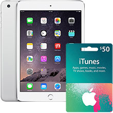 iPad mini 3 Wi-Fi 128GB (Silver) & $50 iTunes Gift Card Package