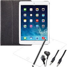 iPad Air Wi-Fi 16GB (Silver), Screen Protector, Case, Stylus, Audio Cable & Earbuds Package