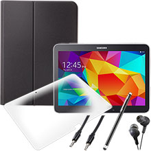 Samsung Galaxy Tab 4 10.1 (Black), Screen Protector, Case, Stylus, Audio Cable & Earbuds Package