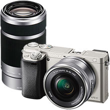 Sony Alpha a6000 Compact System Camera with 16-50mm Retractable Lens - Silver and 55-210mm f/4.5-6.3 Telephoto Zoom Lens