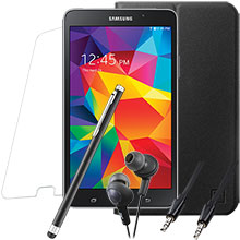 Samsung Galaxy Tab 4 7.0 (Black), Screen Protector, Case, Stylus, Audio Cable & Earbuds Package