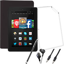 "Amazon Fire HD 7"" 16GB (Black), Screen Protector, Case, Stylus, Audio Cable & Earbuds Package"
