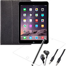 iPad Air Wi-Fi 16GB (Space Gray), Screen Protector, Case, Stylus, Audio Cable & Earbuds Package