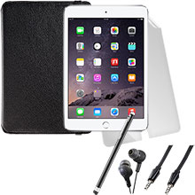 iPad mini 3 Wi-Fi 16GB (Silver), Screen Protector, Case, Stylus, Audio Cable & Earbuds Package