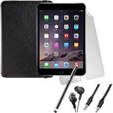 iPad mini 3 Wi-Fi 16GB (Space Gray), Screen Protector, Case, Stylus, Audio Cable & Earbuds Package