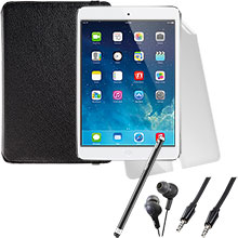 iPad mini Wi-Fi 16GB (White), Screen Protector, Case, Stylus, Audio Cable & Earbuds Package