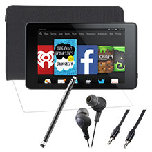 "Amazon Fire HD 6"" 8GB (Black), Screen Protector, Case, Stylus, Audio Cable & Earbuds Package"