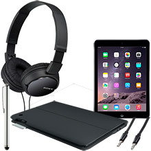 iPad Air Wi-Fi 16GB (Space Gray), Keyboard Case, Screen Protector, Stylus, Audio Cable & Headphones Package