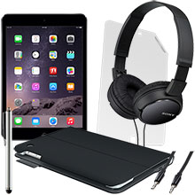 iPad mini 2 Wi-Fi 16GB (Space Gray), Screen Protector, Keyboard Case, Stylus, Audio Cable & Headphones Package
